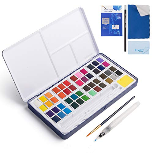 48 Assorted Watercolor Paints Set - Perfect Watercolor Pan Set with Water Brushes Mixing Palette for Beginners and Artists Travel Sketching Painting Coloring Drawing Art Supplies(Blue Box)