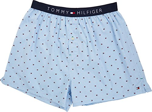Tommy Hilfiger Men's Underwear Woven Boxers, Ice, Small