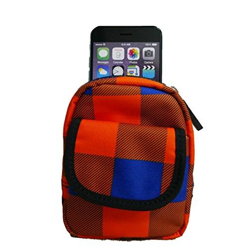 Sport Handytasche, multifunktionale Reißverschluss stoßfest Tasche für iPhone 8, X, 7, 6, 6S, SE, Sony Xperia X/Z5/Z3Compact, Samsung Galaxy A3mit Bonus faltbar Handy Ständer, Orange Blue Plaid