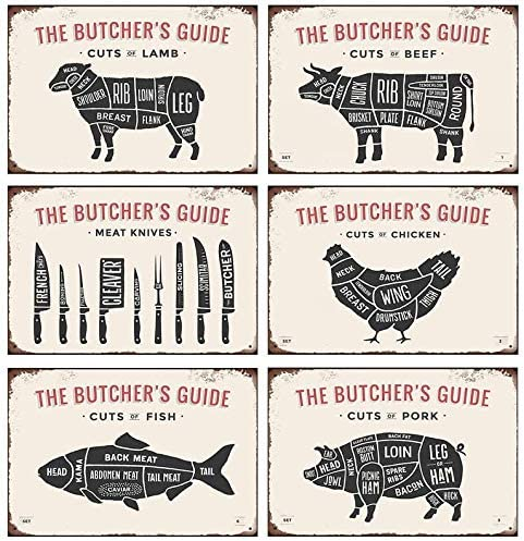 CaiBaiHui Household Classic Retro Ranking TOP10 Tin Butcher's Sign 6 The Discount is also underway Guide