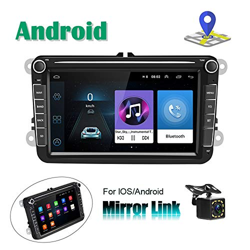 Android Autoradio für VW GPS Navigation, Camecho, 20,3 cm (8 Zoll) kapazitiver Touchscreen, Bluetooth-Stereo-Player, WiFi, FM-Radio-Empfänger, Dual USB für Golf Touran Jetta Polo Seat Sharan