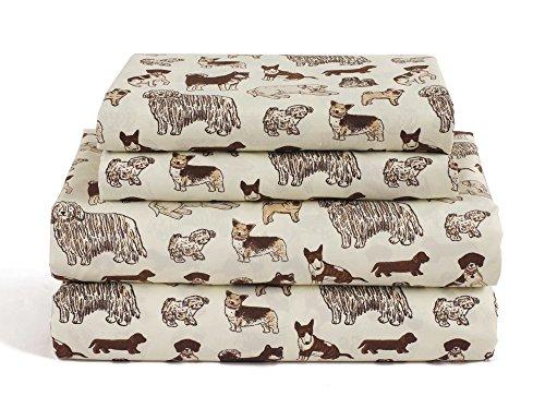 Dog Queen Size 4 Piece Sheet Set Microfiber Bedding, Puppy Pet Animal Lover Gift