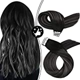Moresoo 20 Inch Tape in Hair Extensions Seamless Hair Extensions Glue in Hair Extensions Balayage Color #1B Mixed with Silver Human Hair Full Head Set 40pcs/100g