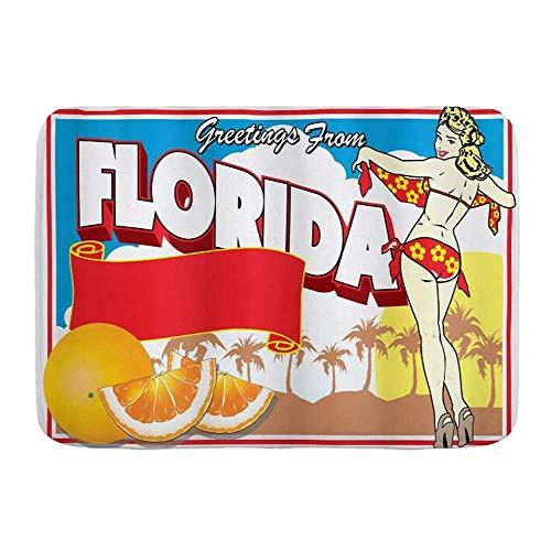 Fußmatten, Florida Grüße aus Florida Postkarten-Design mit einem Pin-Up-Girl in Bikini und Orangen Mehrfarbig, Küchenboden Badteppich Matte AbSorbens Indoor Badezimmer Dekor Fußmatte rutschfest