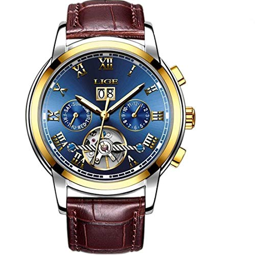 LIGE Herren Uhr Analog Automatik mit Leder Armband 9813