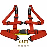 Spocoro SB-0204RD-BK-1 4 Point Racing Safety Harness Buckle with 2' Straps,Red (Pack of 1)