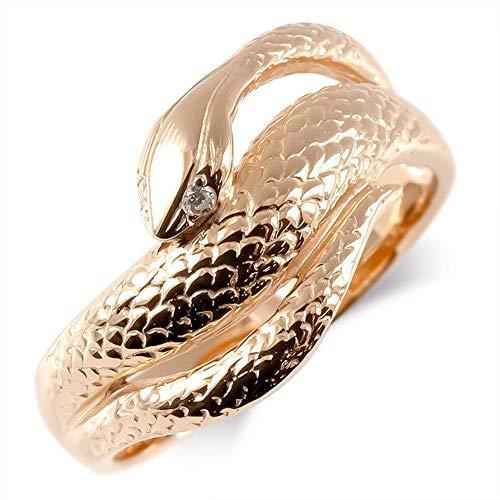 [アトラス] Atrus リング メンズ 10金 ピンクゴールドk10 ダイヤモンド 蛇 指輪 幅広 ピンキーリング 7号
