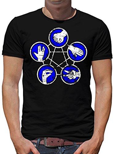 TShirt-People Stein Papier Schere Echse Spock Rules T-Shirt Herren XXXXL Schwarz