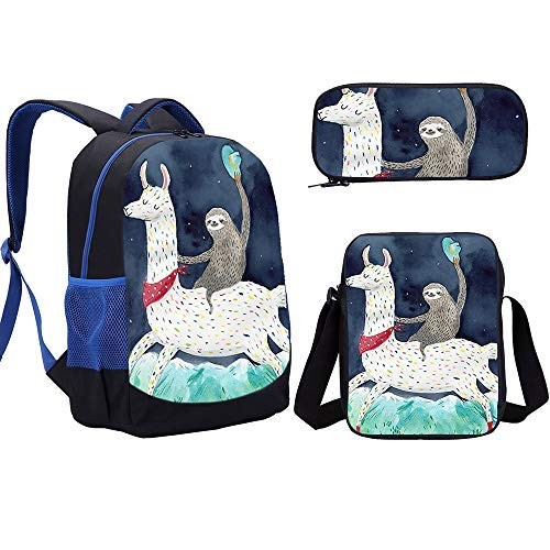 Sloth Backpack Boy Animal Cartoon School Bag Set 3pcs for Teenager Back To School Best Gift (small stachel set 2)