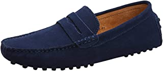 Yaer Men's Driving Loafers Flat, Premium Slip-on Suede Moccasin Boat Shoes