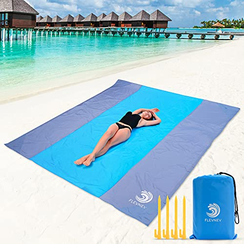 Flevnev Beach Blanket Sandproof Waterproof, Extra Large 10'X 9' Sand Free Beach Mat with 4 Stakes for Beach, Camping, and Picnic