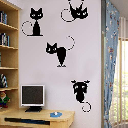 Cooldeer Kinder-Cartoon Muurstickers Kleine Zwarte Kat Verwijderbare Combinatie Creatieve Slaapkamer Woonkamer Slaapbank Achtergrond Muurstickers