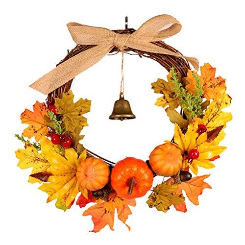 Vosarea - Corona Autunnale con Foglie di Agrifoglio, Corona Autunnale, Ghirlanda per Porta, Ghirlanda di Natale, Decorazione Natalizia