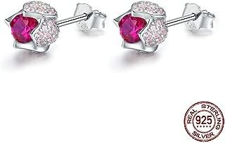 XTT Earrings Hoops Studs Romantic 925 Sterling Silver Luminous Tulip Flower Buds Pink Cz Zircon Earrings Women Wedding Jewelry Gift Women Dangle Earrings 1 Pair