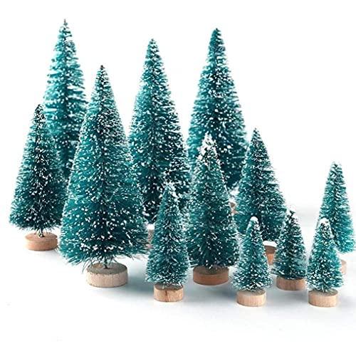 Mini árbol de Navidad de 12 Piezas, árbol de Pino en Miniatura, pequeños árboles de sisal con Base de Nieve y Madera para Suministros de decoración navideña para el hogar
