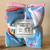 Unicorns Hearts & Rainbows Anti-Pill Premium No-Sew Throw Fleece Fabric Kit (50x60)