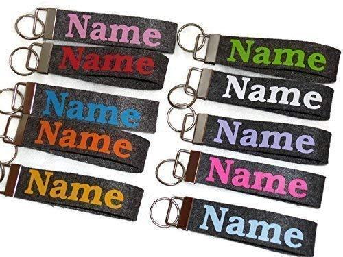 Schlüsselanhänger aus Filz mit Name Wunsch text