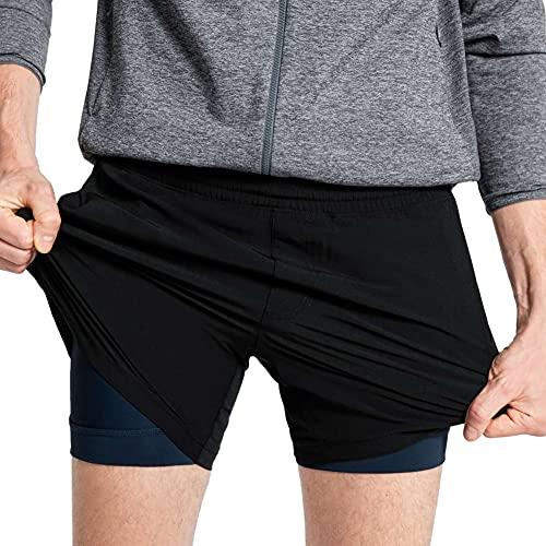MaaMgic Pantaloncini Sportivi Uomo Bermuda 2 in 1 Doppio Strato con Asciugatura Rapida e Tasca con Zip Shorts per Running Palestra Allenamento Fitness, Nero-Blu, S
