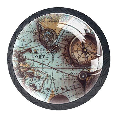 Bennigiry 4 Stück Antike Pirat Weltkarte Kristallglas Schubladenknauf Zuggriff 30 mm ergonomisch rund Möbelgriff Schrankgriff für Küche Kommode Schrank Kleiderschrank