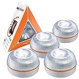 HELP FLASH PK2845 4X luz de Emergencia AUTÓNOMA-Señal preseñalización de Peligro y Linterna, homologada, autorizada por la DGT V16, Base imantada, activación AUTOMÁTICA, 4 Unidades