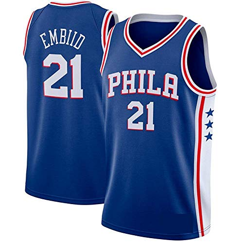 WOLFIRE SC Camiseta de Baloncesto para Hombre, NBA, Philadelphia 76ers 21# Joel Embiid. Bordado, Transpirable y Resistente al Desgaste Camiseta para Fan (Azul, L)