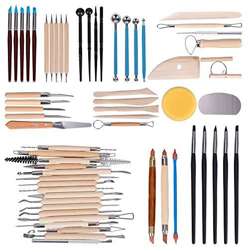 Hakkin 61 teilig Töpferwerkzeug Set Keramik Ton Werkzeugsatz,die Skulptur Schnitzen Werkzeug Modellierwerkzeug Modellierset für Ton Gips Modellbau Malerei Wachs Töpfer Knetmasse