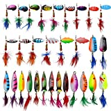 Roostertail Spinner Fishing Lures Kit,30pcs Metal Spoon Lures with Feathered Treble Hooks for Bass Walleye Trout Freshwater Saltwater
