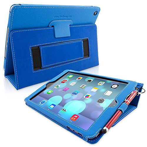 "Snugg iPad 9.7 (2018/2017) & iPad Air Case, Electric Blue Leather Smart Case Cover Apple iPad Air and New iPad 2017 9.7"" Protective Flip Stand Cover with Auto Wake/Sleep"