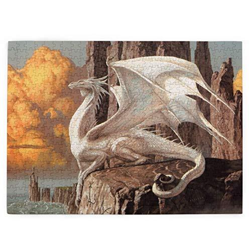 White Guardian Dragon Fantasy Art Cool Magic 520 piezas rompecabezas de fotos divertidos regalos creativos para niños adultos en cumpleaños Navidad