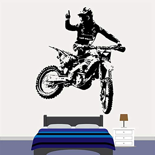 Motocross Motorrad Vinyl Wandkunst Aufkleber Dirt Bike Fenster Aufkleber Cool Style Jungen Schlafzimmer Club Mann Höhle Home Dekoration A4 57x67 cm