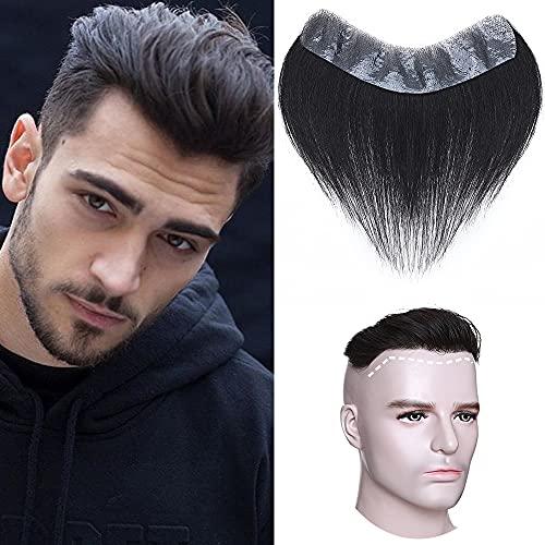 Elailite Toupee Frontale per Uomo Capelli Veri Toupet Protesi Extension Hair Topper 4 * 18CM 100% Indian Human Hair Naturali 15cm 20g #1B Nero
