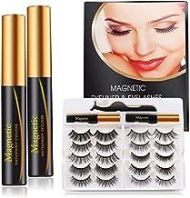 Upgraded Magnetic Eyelashes Eyeliner Kit, 10Pairs False Eyelashes, Natural Look False lashes, Thick Crossed Lashes with Tweezer, Waterproof Reusable, Natural Look, No Glue Needed