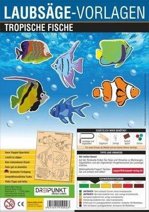 Laubsägevorlage Tropische Fische: Laubsägevorlage für sechs tropische Fische aus hochwertigem 3mm Pappelsperrholz.