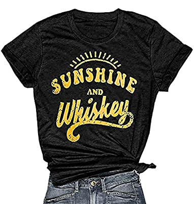 Govc Womens Sunshine and Whiskey Letter Printed Graphic Tees Funny Short Sleeve T-Shirts