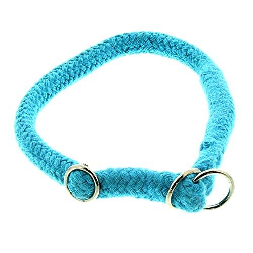Dinoleine Hunde-Halsband/Stoppwürger, Größenverstellbar, Natürliche Baumwolle, Größe: L/ 60 cm, Türkis, 131410
