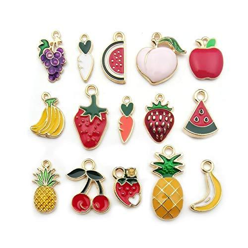 KRAFTIKA, 30pcs Emaille-Gold-Farbe-Frucht-Mix Charms-Anhänger, Wholesale Bulk Lots, Schmuck Halskette Armband Machen