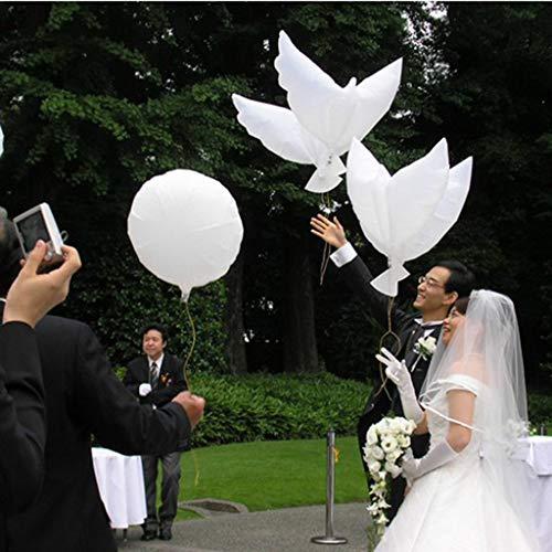 Bumen 10er Set Ballontauben, Folienballons in Taubenform für Hochzeiten und Dekoration, Helium Ballon Taube in Weiss, 104×54cm Folienballons Luftballons Ballons Modellierballons