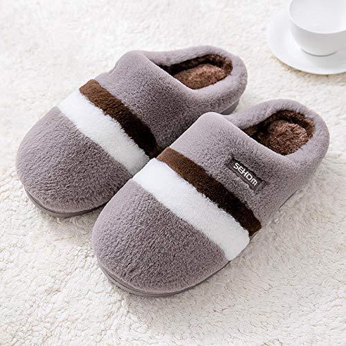 zapatillas de casa originales,Zapatillas calefactadas para mujer, otoño e invierno Damas Pareja Inicio Zapatillas antideslizantes de interior de felpa de algodón, zapatillas de microondas para mujer-