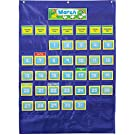 """Carson Dellosa Deluxe Calendar Pocket Chart—Monthly Elementary Calendar With Days of the Week, Holidays, Special Day Cards, Classroom or Homeschool (35"""" x 25"""")"""