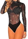 BarbedRose Women's Sexy Long Sleeve Mesh Bodycon Mock Neck Onesies Bodysuit,Black,L