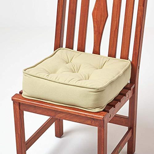Homescapes gepolstertes Sitzkissen 40 x 40 cm, grün/hellgrün, 10 cm hohes Stuhlkissen mit Bändern, Stuhlpolster/Matratzenkissen für Stühle, Bezug aus 100% Baumwolle, lindgrün