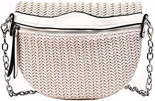 TOOGOO Waist Bag Simple Woven Saddle Bag Wallet Messenger Bag Solid Color Pu Travel Bag Chest Bag Black