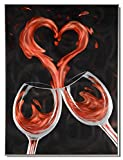 Yihui Arts Kitchen Wall Decor Red Wine Metal Art Pictures with Floating Frame for Dinning Room (Red Wine, 32x24IN)