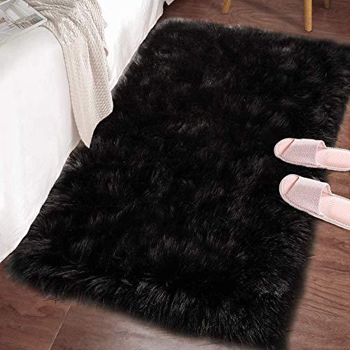 Blugonz Alfombra Negro, Alfombra de Piel de Oveja Sintética, Alfombra de Dormitorio Mullida, Utilizada para La Decoración del Hogar, Alfombra Rectangular (Negro, 60 x 90 cm)