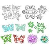 Besylo Troqueles de Corte Metal,4 piezas de troqueles de corte de mariposa y 3 piezas de troqueles de corte de flores de encaje para álbum de recortes de bricolaje tarjeta de papel en relieve de metal