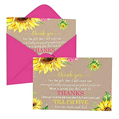 Sunflower Baby Shower Thank You Cards with Envelopes (15 Pack) Rustic, Country Fall Flower Supplies Yellow – Cute Thanks from Baby Girls - A6 Flat Stationery Set Printed (4 X 6 inches) by Paper Clever Party