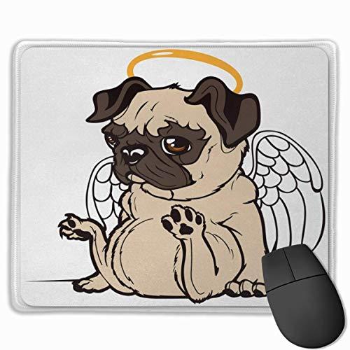 Muismat, schrijftafelmuismat, muismat, mops, huisdier, puppy engel een haas op de kop vleugel heavenoranje beige en bruin