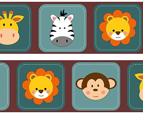 wandmotiv24 Bordüre Kleine Tierfreunde Afrika 520cm Breite - Vlies Tapetenbordüre Borte Wandborde Borde Afrika Baby Löwe BO048