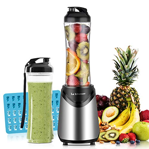 Smoothies Blender Personal Size 300 Watts with 2 Pieces 18 oz BPA Free Portable Travel Sports Bottles (Silver 2 Cups)