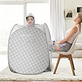 SEAAN Portable Home Sauna, Personal Steam Sauna Tent for Weight Loss and Detox 2 Person Sauna SPA Sauna Wrap with 2.6L Steamer Foldable Chair Remote Control Timer Full Body Leg Relaxation …
